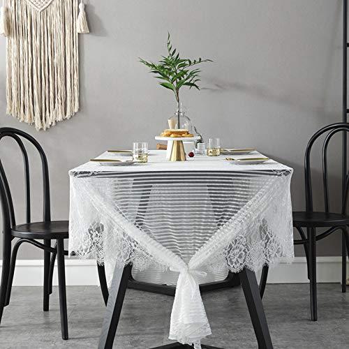 Creek Ywh kanten tafelkleed in Scandinavische stijl met kant, landelijke stijl, retro, kant, tafelkleed/salontafel/fotografie