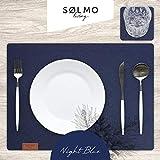 sølmo I 12er Premium Platzsets aus Filz Tischset Platzset 42x32 cm abwaschbar Filzuntersetzer Platzdeckchen Untersetzer Teller Platzset + Glas Untersetzer Echtholz Tisch geeignet Blau, Night Blue - 2