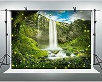 ZPC滝マウンテングリー木自然風景の背景7X5FTおとぎ話の魔法の森写真の背景ビニール画像写真の背景旅行スタジオブース小道具GEEV029