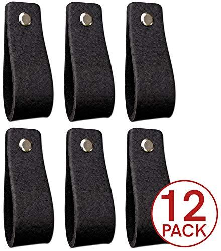 Ledergriffe Möbel   Schwarz - 12 Stück   Ledergriff für Schränke, die Küche und Tür   Lieferung mit Schrauben in 3 Farben