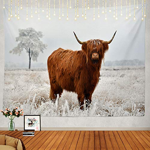 Shrahala Landscape Tapestry, Scottish Highland Cow Wall Hanging Large Tapestry Psychedelic Tapestry Decorations Bedroom Living Room Dorm(51.2 x 59.1 Inches, Brown 1)