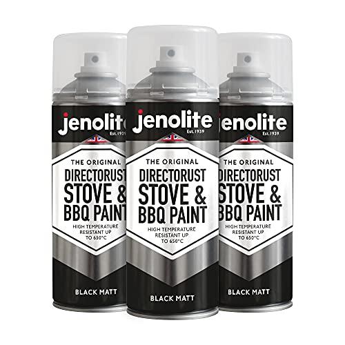 3 x JENOLITE Directorust Vernice spray per barbecue e stufa - Nero opaco - Resistente alle alte temperature Fino a 650°C - 400ml