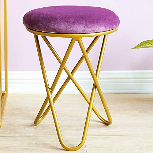 SVHK Ottoman Footrest Stool Padded Seat Round Modern Upholstered Vanity Footstool Side Table Seat Dressing Chair Living Room, Bedroom And Kids Room Chair (Color : Purple)