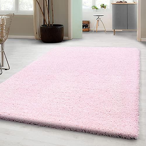 Carpetsale24 Alfombra Shaggy, Alfombra DE SALÓN, Color Liso, Pelo Largo, Rectangular, Dimensiones:100 cm x 200 cm, Color:Rosa