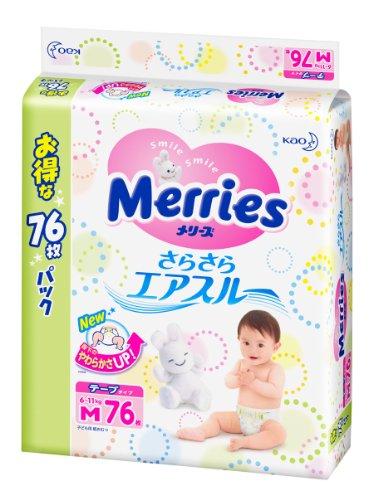 【テープ Mサイズ】メリーズさらさらエアスルー (6~11kg)76枚