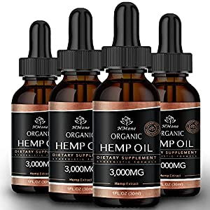 (4 Pack) Organic Hemp Oil for Pain Relief and Inflammation - 3000 mg Extra Strength Hemp - for Anxiety & Stress Relief - Supports Sleep, Clam,Focus, Relaxation - Organically USA