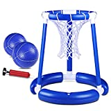 Pool Basketball Hoop with Basketball Floating Basketball Hoop for Swimming Pool Hoop Set with 2 Balls & Pump Pool Basketball Toys for Kids Family Pool Outdoor