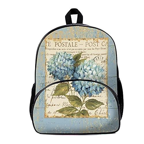 Mochila escolar azul blanco hortensias flores 18 x 30 x 40 cm, mochila para viajes, camping, caza, senderismo, mochilas para hombres, mujeres y estudiantes