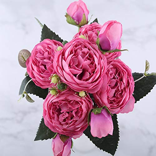 QWERTYU LIJIANME 30cm Rose Pink Silk Pfingstrose-künstliche Blumen Bouquet 5 Big Head und 4 Bud Günstige Fake Flowers for Heim Hochzeit Dekoration Innen (Color : Red)