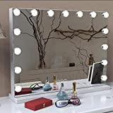 TEVISE Makeup Vanity Mirror with Lights, Professional Hollywood Style Smart Touch Design, Dimmable Bulbs in 3 Color Tone Modes, USB Charging Port, 22.8' W x 18.2' H, White
