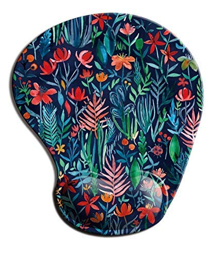 Dooke Ergonomic Mouse Pad with Wrist Support, Cute Mouse Pads with Non-Slip Rubber Base for Home Office Working Studying Easy Typing & Pain Relief Tropical Flowers