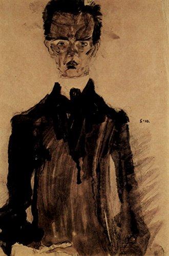 Das Museum Outlet–Selbstporträt in einem schwarz Bademantel von Egon Schiele–Leinwand Print Online kaufen (101,6x 127cm)