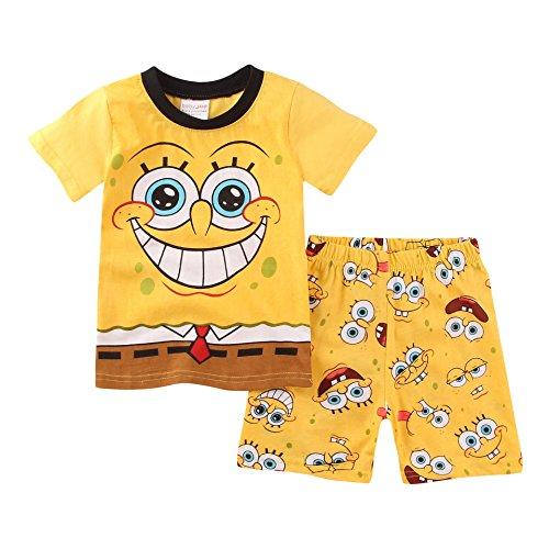 Meteora Boys Pajamas Kids Short Sets 100% Cotton Clothes Cartoon Sleepwears (Spongebob, 3-4T)