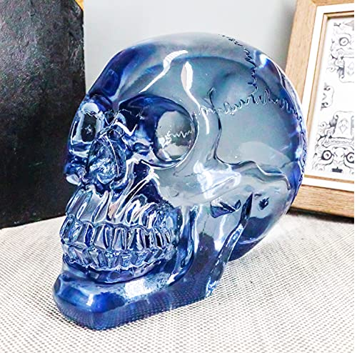 Ebros Gift Pirate Cave Tomb Treasure Blue Translucent Acrylic Crystal Scrying Skull Figurine Occult Macabre Wicca Halloween Decorative Sculpture