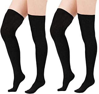Women Plus Size Thigh High Stockings Thin Over the Knee Tube Socks Long Sport Tights Striped Leg Warmers Sock