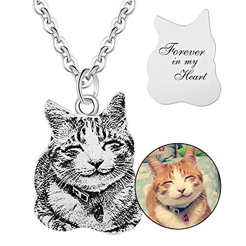 925 Sterling Silver DIY Personalized Pet Cat Dog Tag Necklace Text Engravable Name Picture 16 Shapes Customized from Photo for Women Men Kids
