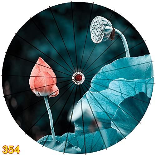 XKMY Paraguas hecho a mano de papel de aceite de 84 cm Lotus Hanfu paraguas de papel estilo antiguo sin lluvia hembra borla china decoración de techo (color: blanco)