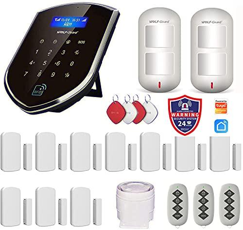 Wolf-Guard, sistema di allarme di sicurezza Smart Life APP, WiFi e GSM, con rilevatore di movimento pet friendly, sensore per porte e finestre, RFID, telecomandi, sirena