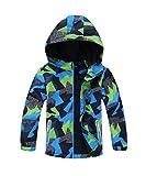 M2C Boys Outdoor Color Block Fleece Lining Windproof Jackets with Hood Green 7/8