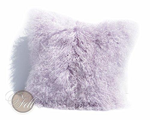 Kissen Tibetlamm ohne Inlet Tibetlammfell 45 x 45 cm Lavender Fog Fellkissen Tibet Lammfell Mongolisches Lammfell