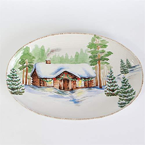 YUWANW Dog country américain tir décoratif disque plat mural plaque plat mis plat dessert occidental fritures maison - côté rose d'un petit disque de chien - A