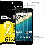 NEW'C 2 Unidades, Protector de Pantalla para LG Google Nexus 5X, Antiarañazos, Antihuellas, Sin Burbujas, Dureza 9H, 0.33 mm Ultra Transparente, Vidrio Templado Ultra Resistente
