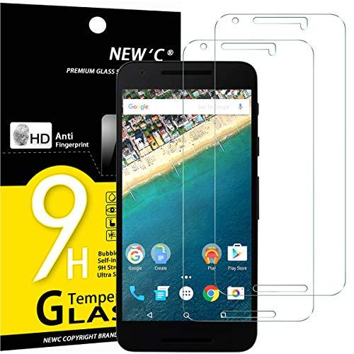 NEW'C 2 Stück, Schutzfolie Panzerglas für LG Google Nexus 5X, Frei von Kratzern, 9H Festigkeit, HD Bildschirmschutzfolie, 0.33mm Ultra-klar, Ultrawiderstandsfähig