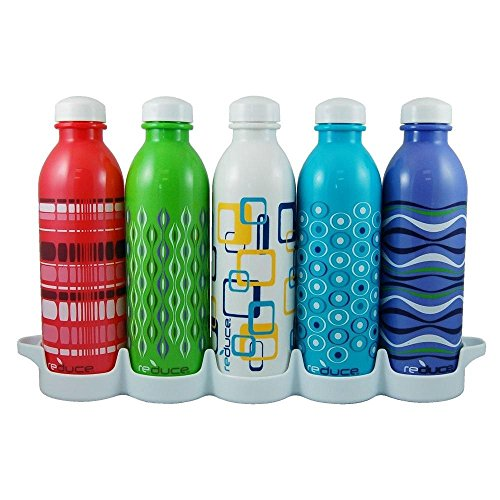 Reduce WaterWeek Classic Reusable Water Bottles, 16oz – Includes 5...