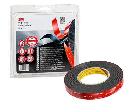 3M VHB 5952F Klebeband doppelseitig, Für anspruchsvolle Oberflächen (Glas, Kunstoffe etc.), Schwarz, 19mm x 11m