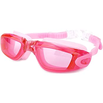 AINAAN Glasses, Leaking Anti-Fog Indoor Outdoor Swimming Goggles with UV Protection Mirrored Clear Lenses, Adult/Youth, Pink