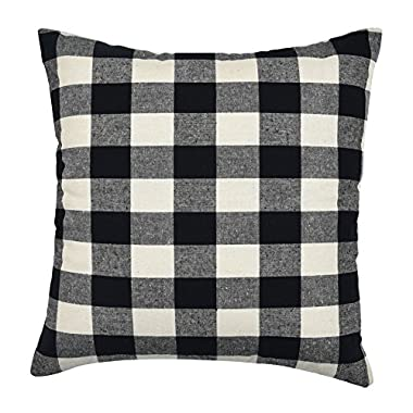 WFLOSUNVE Checkered Plaids Pillow Cover, Soft Retro Buffalo 100% Solid Cotton Decorative Throw Pillowcase Cushion Case for Couch and Sofa 18 x 18 Inch (Beige and Black)