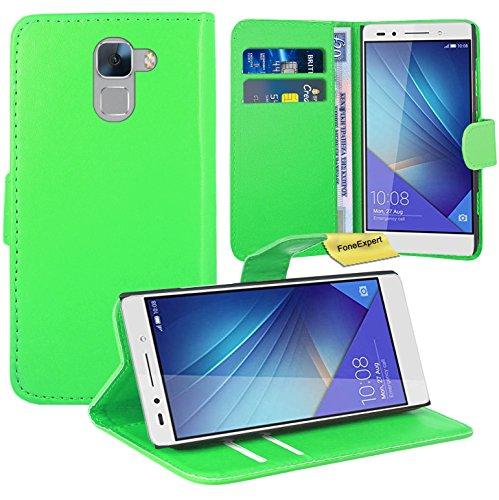 FoneExpert® Huawei Honor 7 Handy Tasche, Wallet Hülle Flip Cover Hüllen Etui Ledertasche Lederhülle Premium Schutzhülle für Huawei Honor 7 (Grün)