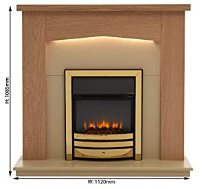 Linton Electric Fireplace Suite, 220/240Vac 1&2kW with Multi Function Remote Control in Light Oak veneered MDF Fireplace Suite. (Brass Trim & Fret)