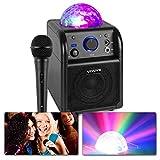 Vonyx SBS50B Altavoz portátil Set de Karaoke para Fiesta con micrófono y Efecto Eco, Bluetooth, Bola de Discoteca con Efectos de Luces LED, Entrada Auxiliar - Negro