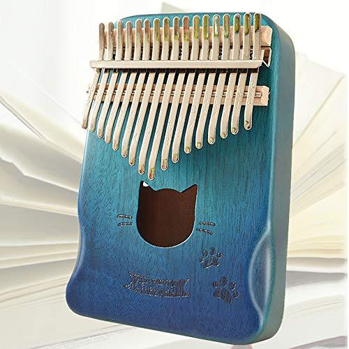 Kalimba 17 Tasten Farbverlauf Marimba Katze / Schmetterling / Sonne / Hirsch Daumen Klavier Mahagoni / Akazie / Tiger Maple Wood Finger Instrument Festival Gift Mahogany-Cat-B
