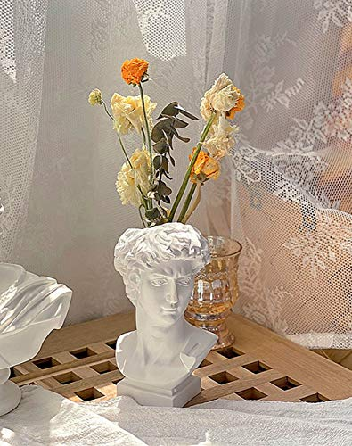 FunSpace Greek Roman Style Statue Flowers Vase Succulent Planter - 6.5 inch Makeup Brushes Container Pen Holder - Great Gift for Home or Office Decoration (David)