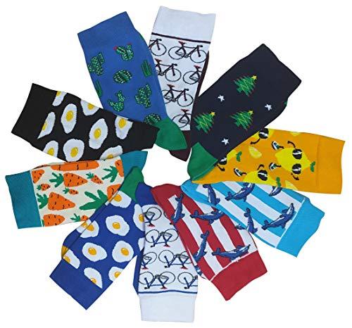 Bunte Gemusterte Socken mit Föhre, Zitrone, Delphin, Spiegelei, Kaktus, Fahrrad, Karotte unisex (Blaues Fahrrad)