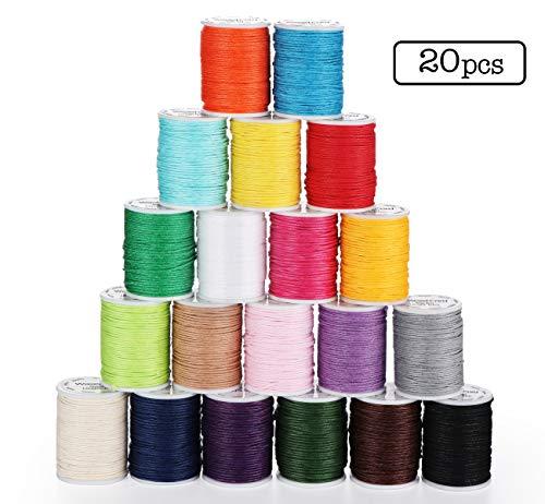 ABSOFINE 20 Rollen Gewachste Baumwollschnur Wachsband Baumwollkordel 10m Ø 1mm für Schmuckherstellung DIY DIY Halskette Armband Handwerk Machen