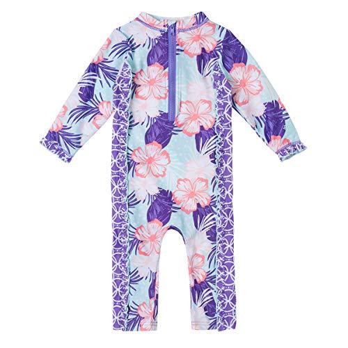 UV SKINZ UPF 50+ Baby Girls Sun & Swim Play Suit - Hibiscus Floral - 6/12m