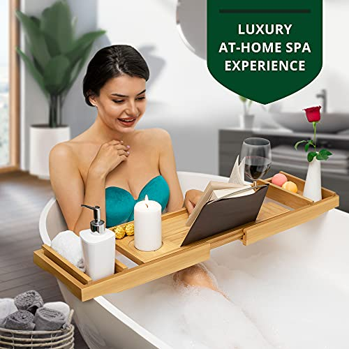 Luxury Bathtub Caddy Tray, 1 or 2 Person Bath and Bed Tray, Bath Tub Table Caddy with Extending Sides - Free Soap Dish (Natural)