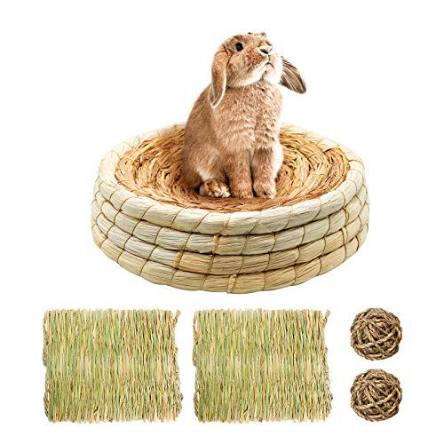 Naturstroh Kaninchen Bett Set/ Kaninchen Corn Husk Betten/ Vogelnest, Mit 2 Stk Kleintier Grasmatten Und 2 Stk Kleintiere Kauspielzeug Für Tauben, Kaninchen, Meerschweinchen, Chinchilla, Hamster (H1)