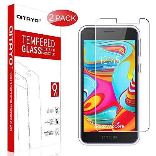 QITAYO Panzerglas Schutzfolie für Samsung Galaxy A2 Core[2 Stück] [2.5D Rand][Blasenfrei] [Anti vor Fingerabdruck] Samsung Galaxy A2 Core Folie Glas Displayschutzfolie
