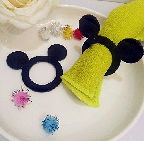 Mickey Serviette Ringe, Set aus 12Cartoon Acryl Schwarz Serviette Ringe, Eheringe, Party Decor, Geburtstag Tisch Decor