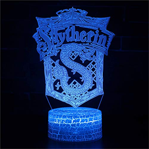 3D Lampe LED USB 3D Nachtlicht Weihnachtsgeschenk slytherin Geburtstagsgeschenk Junge 8 Jahre 16 Farben ändernde Touch Desk Lampe für Kinder Geburtstag Weihnachtsgeschenke