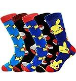 Pikachu Pokemon Character Socks 5 Pairs Men Patterned Novelty Funny Cartoon Crew Dress Socks for Wedding Groomsmen 10-13