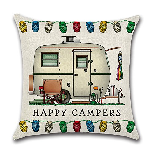 YANGYULU Cute RV Vintage Camper Travel Trailer Cotton Linen Home Decorative Throw Pillow Case Sofa Cushion Cover 18 x 18 (STYLY07)