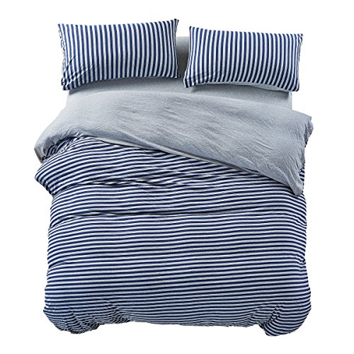 PURE ERA Jersey Knit Cotton Home Bedding Duvet Cover Sets Striped Comforter Cover and Pillow Shams Soft Comfy Blue Grey Queen Size