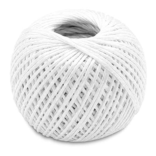 Katzco White - 350 Feet Long Polypropylene Twine Roll, 3mm Thick - for Industrial, Packaging, Arts and Crafts, Hobby, Gifts, Decoration, Bundling, Gardening, and Home Use, 1 Pack