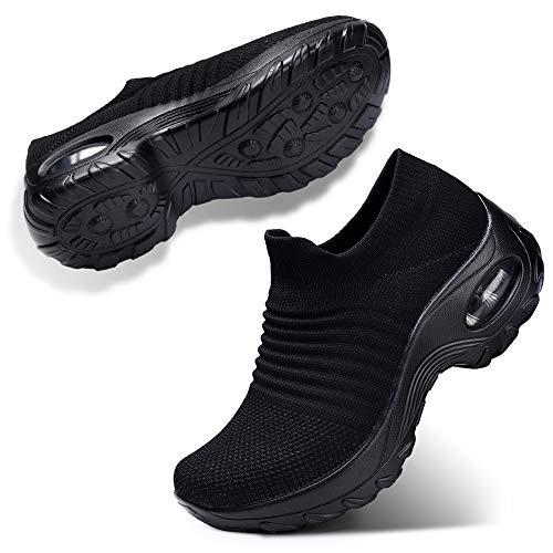 ZHR Damen Sneakers Mesh Atmungsaktiv Schuhe Leichtgewicht Keilabsatz Schuhe Slip on Sportschuhe Laufschuhe Alles Schwarz EU39