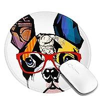 マウスパッド円形 おしゃれ マウスパッド 円柄 犬 大柄 水彩画 肖像 ゲーミングマウスパッド ゴム底 光学マウス対応 滑り止め 耐久性が良い おしゃれ かわいい 防水 オフィス最適 適度な表面摩擦 直径:20cm
